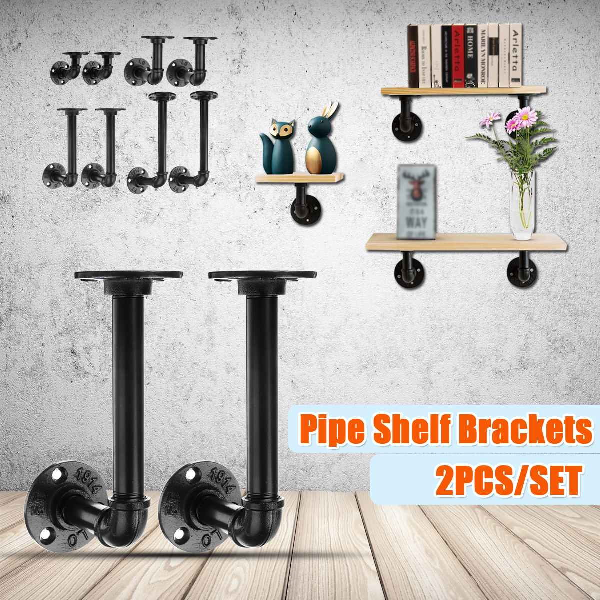 2PCS Industrial Steel Pipe Shelf Bracket Holder DIY Pipe Shelf Brackets Black