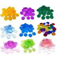 100 piezas de 19 MM fichas de póker de plástico marcador de Bingo monedas de juego de colores transparentes accesorios de juego de Bingo familiar divertido juego de Club juego