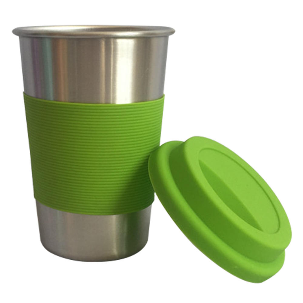 Hot Sale 304 Stainless Steel Beer Cup Silicone Rubber Wrap Stainless Steel Anti Knock Cup 500ml Кубок