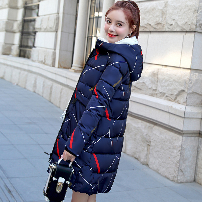 100% Quality Fashion Striped Female Coat Cheap Winter Coats Warm Quilted Long Autumn Jacket Hooded Parka Women Overcoat Snow Wear Plus Size