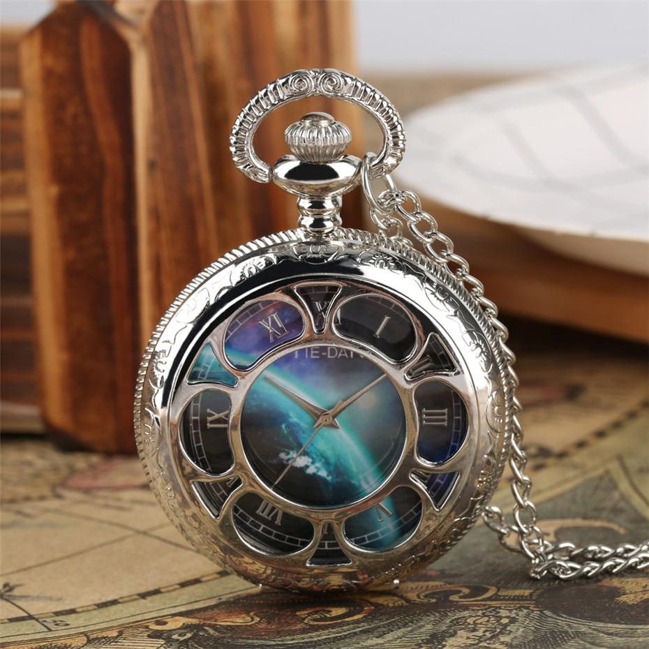 Silver Hollow Flowers Quartz Pocket Watch Pendant Necklace Chain Top Gifts Items For Men Women Reloj De Bolsillo Dropshipping