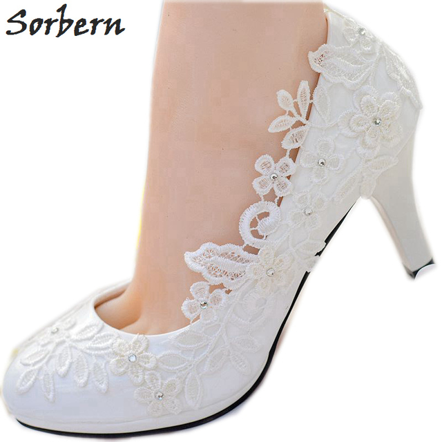 6e6ab6b52aed Sorbern White Lace Flower Wedding Shoes Slip On Round Toe Bridal Shoes High  Heel Women Pumps Shallow Round Toe 4.5Cm 8Cm