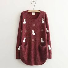 7c74f2e2427294 Women Cute Animal Loose Sweaters Cartoon Embroidered Thin Knitwear Girl  Pockets Knitted Pullovers