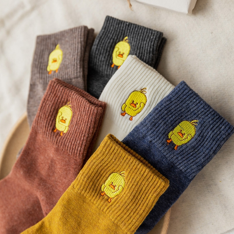 New Fashion Cotton Yellow Duck Women   Socks   Cute Cartoon Embroidery Crew   Socks   High Quality Spring Autumn Animal Funny   Socks