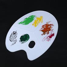 Owalna trójliniowa paleta z tworzywa sztucznego biała wielofunkcyjna paleta malarska olejowa artystyczny obraz akwarela materiały malarskie narzędzia do rysowania tanie tanio 6 lat Round 43*31