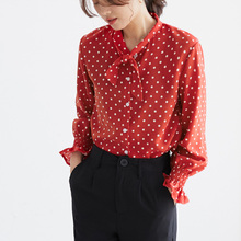 Qiukichonson Polka Dot Lantern Sleeve Chiffon Blouse Korean Fashion 2019 Spring Bowknot Design Stand Collar Woman Shirts Casual stand collar polka dot print rib splicing design long sleeve jacket