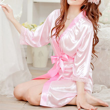 2019 Pajamas For Women Sexy Lingeries Lace Splicing Satin Night Dress Belted Sleepwear Elegant Night Gown Bathrobe Pijama Femme elegant flounce lace belted dress for women