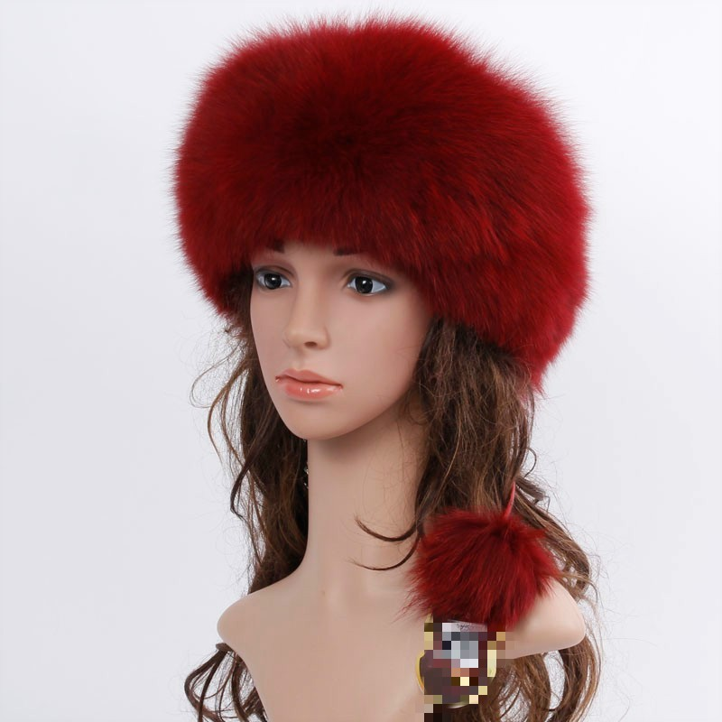 fashion new style luxury winter Russian natural real fox fur hat 2017 women warm good quality 100% genuine real fox fur cap
