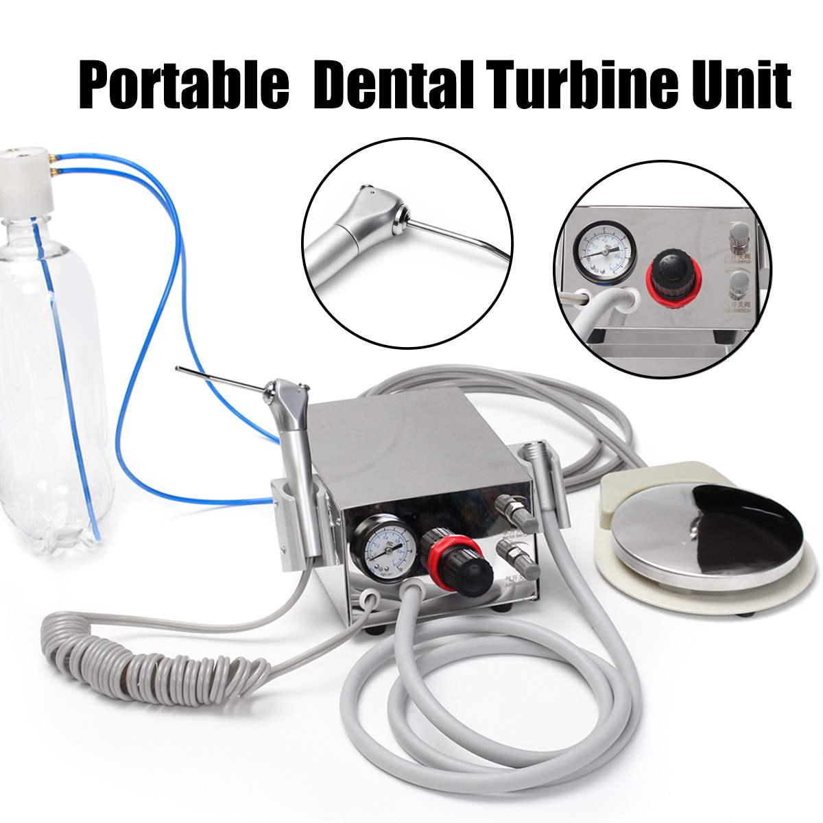 Portable Dental Turbines Unit Work 3 Way Syringe 4 Hole Air Control Foot Switch Oral-Irrigator Teeth Whitening Tool Kit