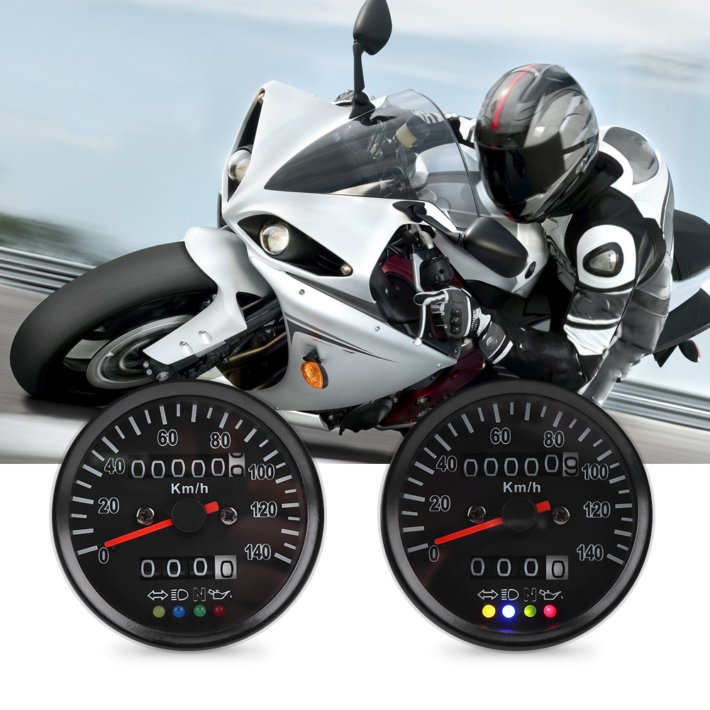 Universal 60mm Black Motorcycle Odometer Speedometer Gauge With Indicator For High Beam Neutral Engine Oil Turn Signal Indicator