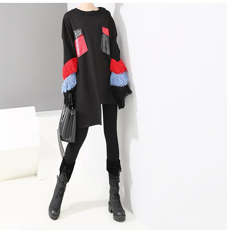 Mode gland vestes à capuche Femmes asymétrique lâche décontracté sweat filles drôle contraste couleur printemps hauts Femmes