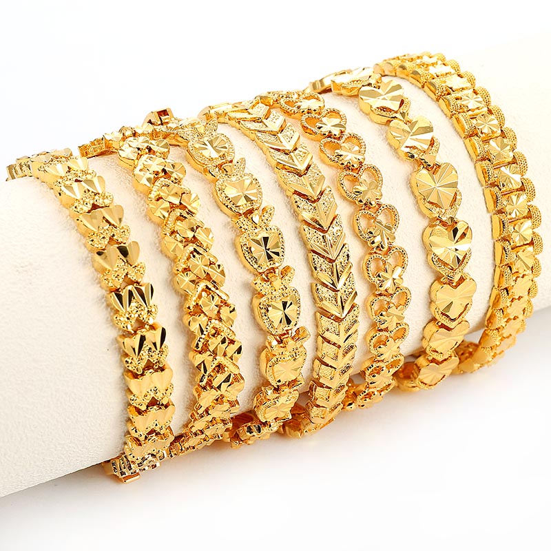 Trendy Plated 24K Gold Multi shape Punk Bracelet Curb Cuban Chain Gold Color Bracelets Bangle For Men Women Jewelry Gifts