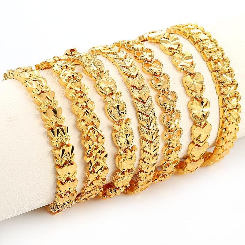 Trendy Plated 24K Gold Multi Shape Punk Bracelet Curb Cuban Chain Gold Color Bracelets Bangle For Men Women Jewelry Gifts