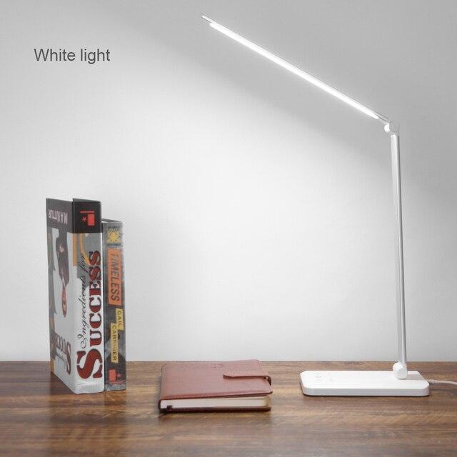 책상 램프 터치 센서 led 테이블 램프 usb 전원 디 밍이 가능한 책 독서 등 3 밝기 조정 타이머 전원 끄기