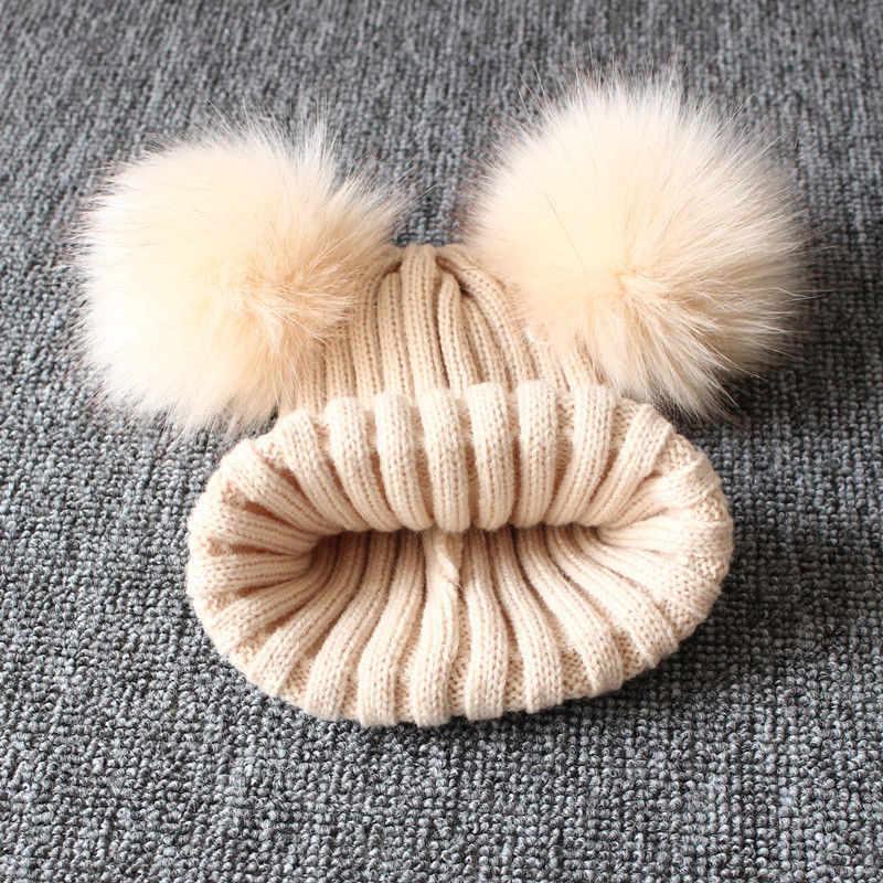 ฤดูหนาวน่ารักฤดูหนาวเด็กสาวหมวกเด็กทารกถัก Pom Pom Beanie หมวกโครเชต์บอล Bobble หมวกเด็กหมวก 1-3Y