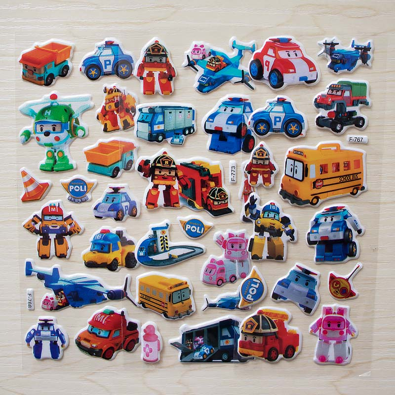 6 sheets Cute Robot Car Poli Toy Bubble stickers Korea Transformation Toys christmas Gifs For Kids toys wall sticker6 sheets Cute Robot Car Poli Toy Bubble stickers Korea Transformation Toys christmas Gifs For Kids toys wall sticker