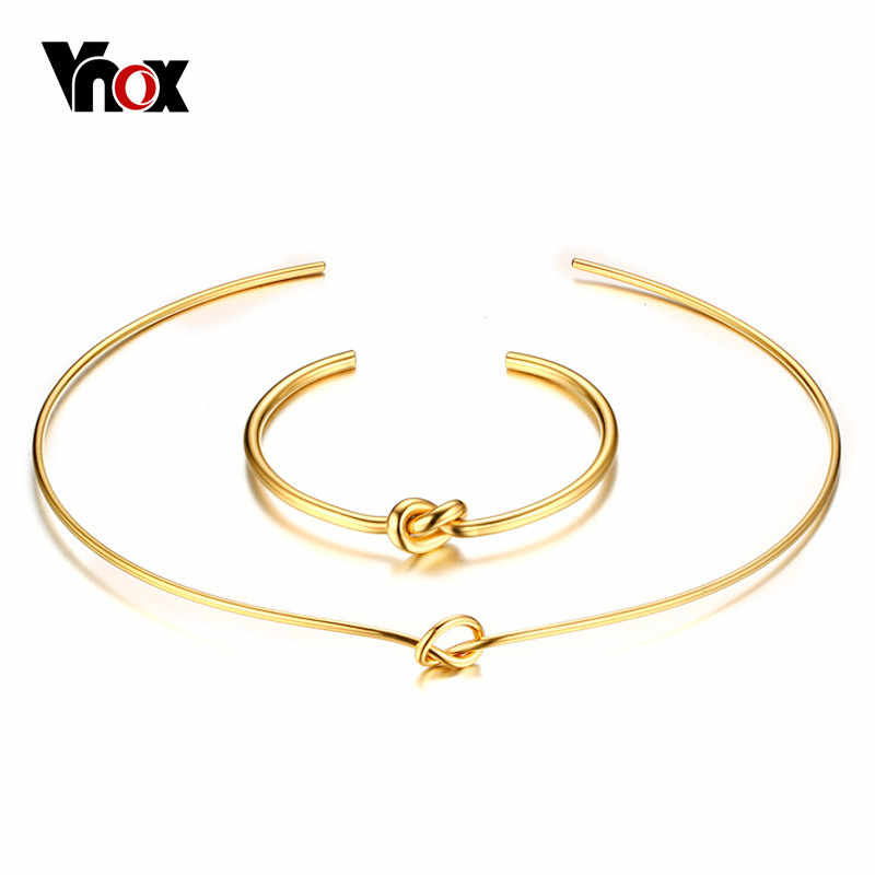 Vnox Gold-color Knot Necklace and Bangle Jewelry Sets for Female Party Elegant Costume Accessories
