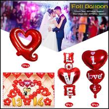 1pc Big Baloon I Love You Ang Happy Day Balloons Party Decoration Heart Shape Anniversary Weddings Valentine Foil Balloons