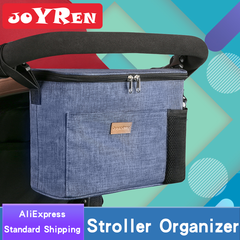 Baby Stroller organizer by Joyren Universal Baby Jogger with Two Insulated Cup Holders and Shoulder Strap Stroller Bag