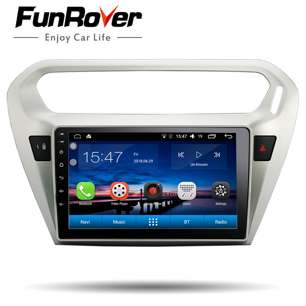 Funrover android 8 0 2 din car radio multimedia gps For Peugeot 301 Citroen Elysee 2014