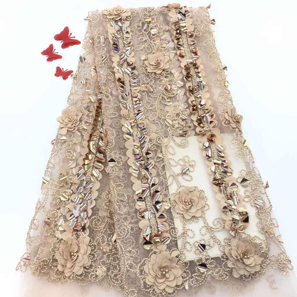 Latest 2019 wedding tulle lace fabric high quality Nigerian 3D lace fabrics with sequins African french guipure mesh lace fabric