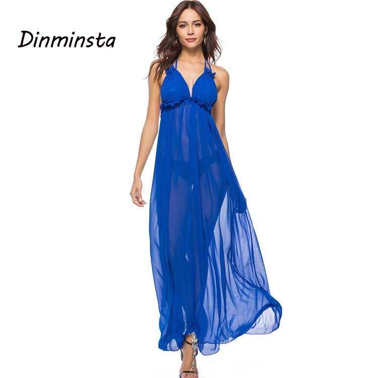 6936be29b6687 Dinminsta Women Sexy Long Dress Bohemian Strap Solid Deep V Neck Backless  Maxi Dresses Mesh Transparent Summer Beach Frocks 2019