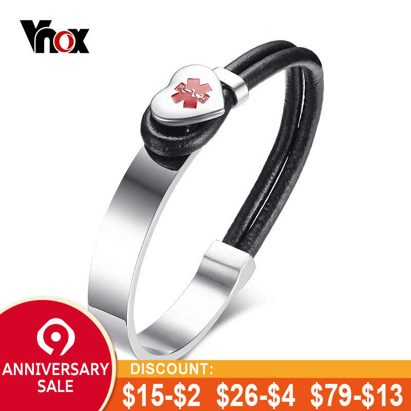 7194f4fa5981a Vnox Medical Alert ID Bracelet for Women Men Heart Charm Stainless Steel  Wrap Bracelets Bangles with Black Leather Rope Jewelry