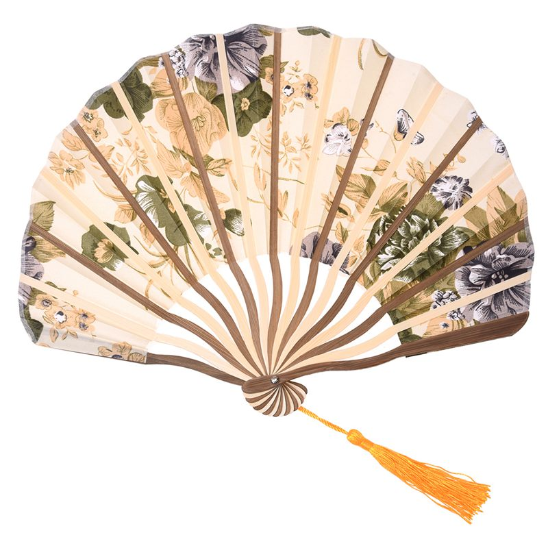 Classic Style Peony Flower Fabric Bamboo Folding Dance Hand Fan Beige