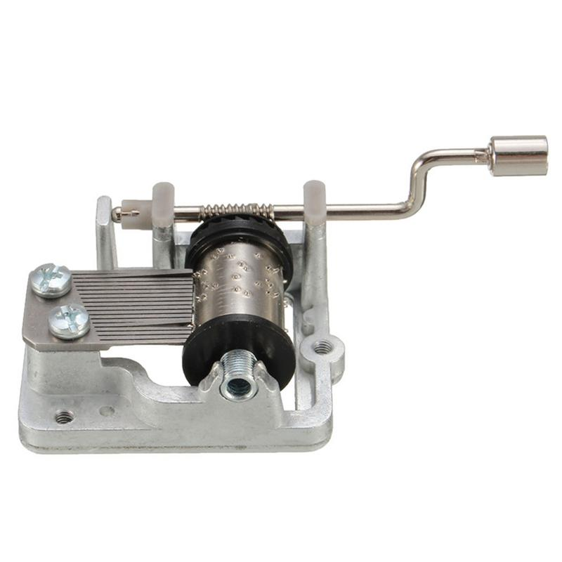 Mini Hand Cranking Music Movement Metal DIY Music Box Decorative Collectibles Silver A Variety Of Music Available