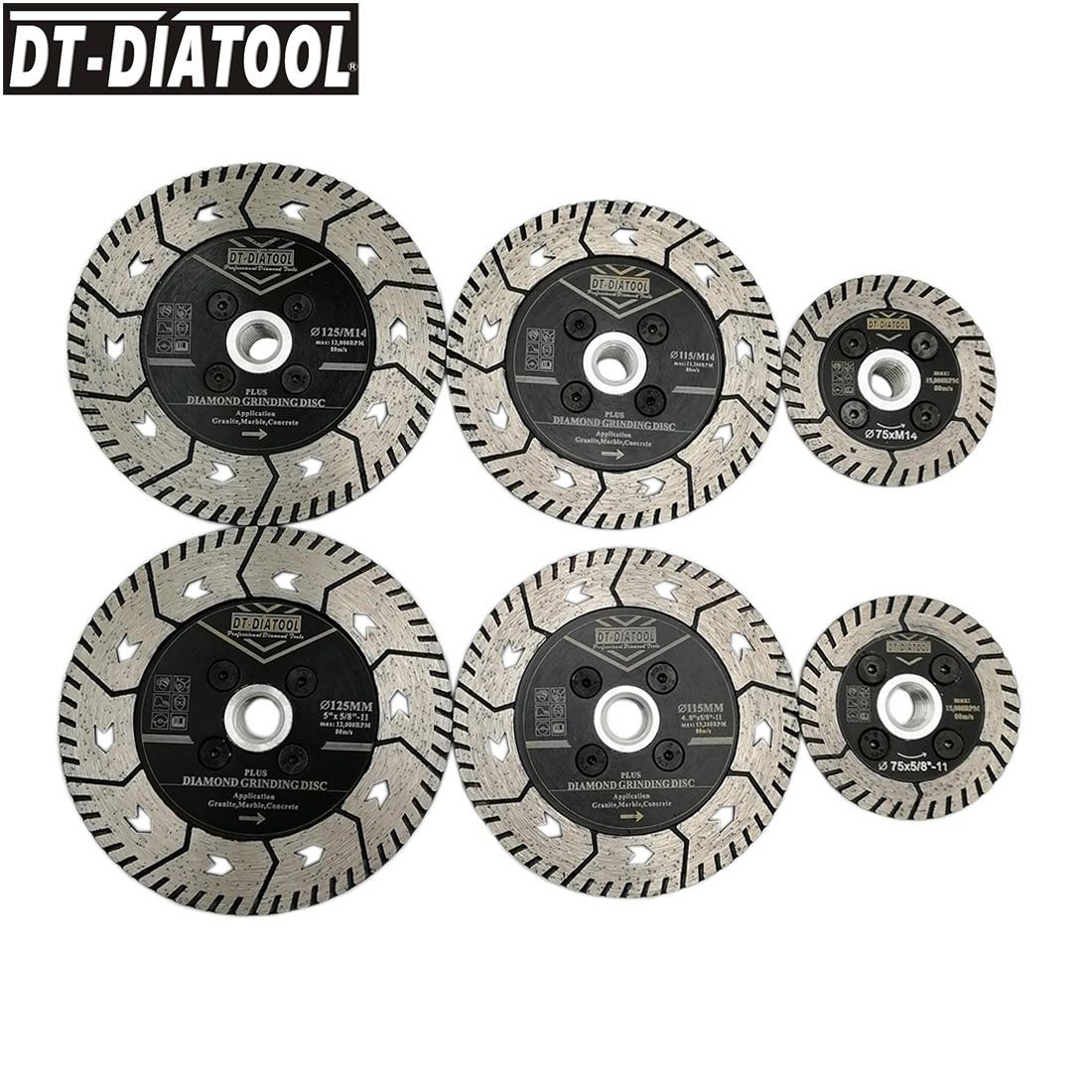 DT-DIATOOL 1pc Diameter 75/115/125mm Diamond Dual Cutting Wheel Saw Blades Grinding Disc For Grind Sharpen Granite Marble Concrete M14 Or 5/8-11 Thread