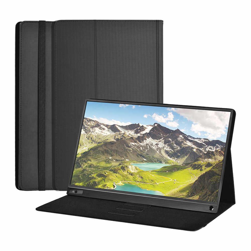 Monitor de ordenador portátil de 15,6 pulgadas con Funda de cuero 1920x1080 pantalla HD IPS LCD para Tablet Laptop para PS4/Xbox/teléfono