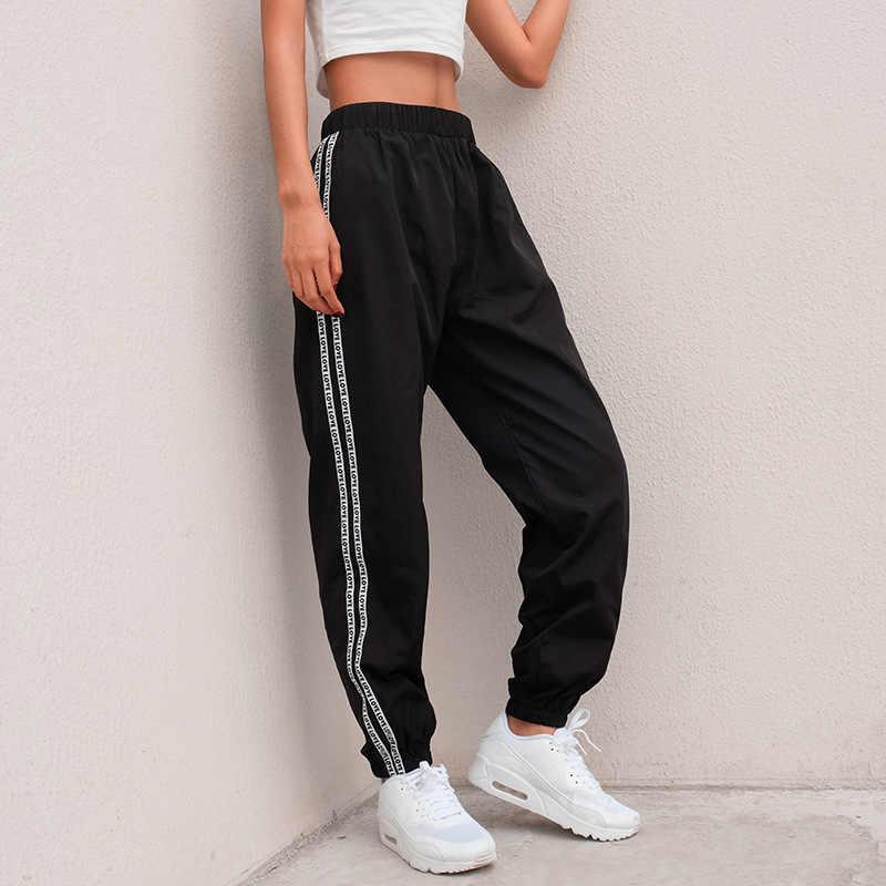 HOUZHOU แฟชั่นด้านข้าง Stripe Letter กางเกงผู้หญิง 2020 ฤดูร้อนสูงเอวดินสอ Streetwear Cargo Jogger Harajuku Sweatpants