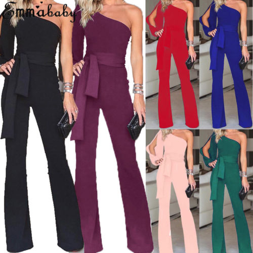 2020 New Women Ladies Clubwear Summer One Shoulder Playsuit Bodycon Party Jumpsuit Romper Long Trousers With Sashes