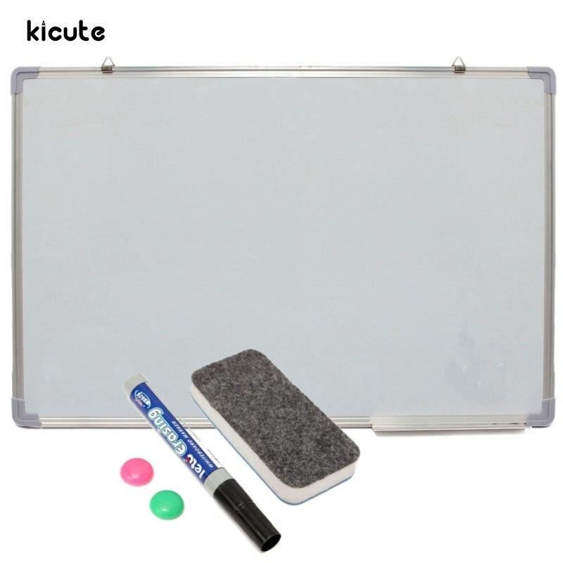 Kicute tableau blanc effaçable à sec magnétique 600x900 MM Double face avec stylo effaçable aimants boutons pour école de bureau