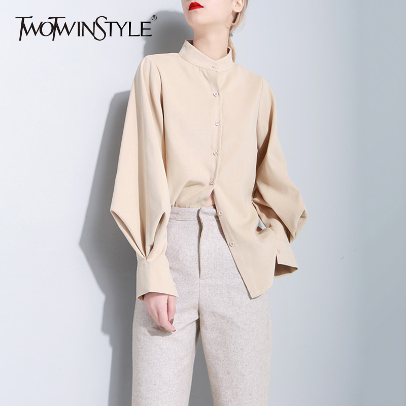 TWOTWINSTYLE Lantern Sleeve Shirt Tops Female Vintage Long Sleeves Women's Blouse Casual Clothes Korean 2020 Spring New