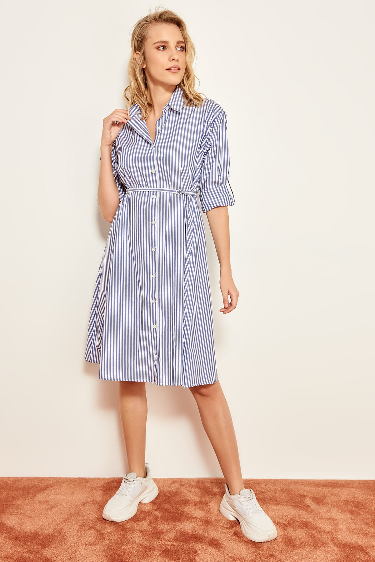 7763be608f831 Trendyol Blue Red Striped Dress TWOSS19XW0008-in Dresses from ...