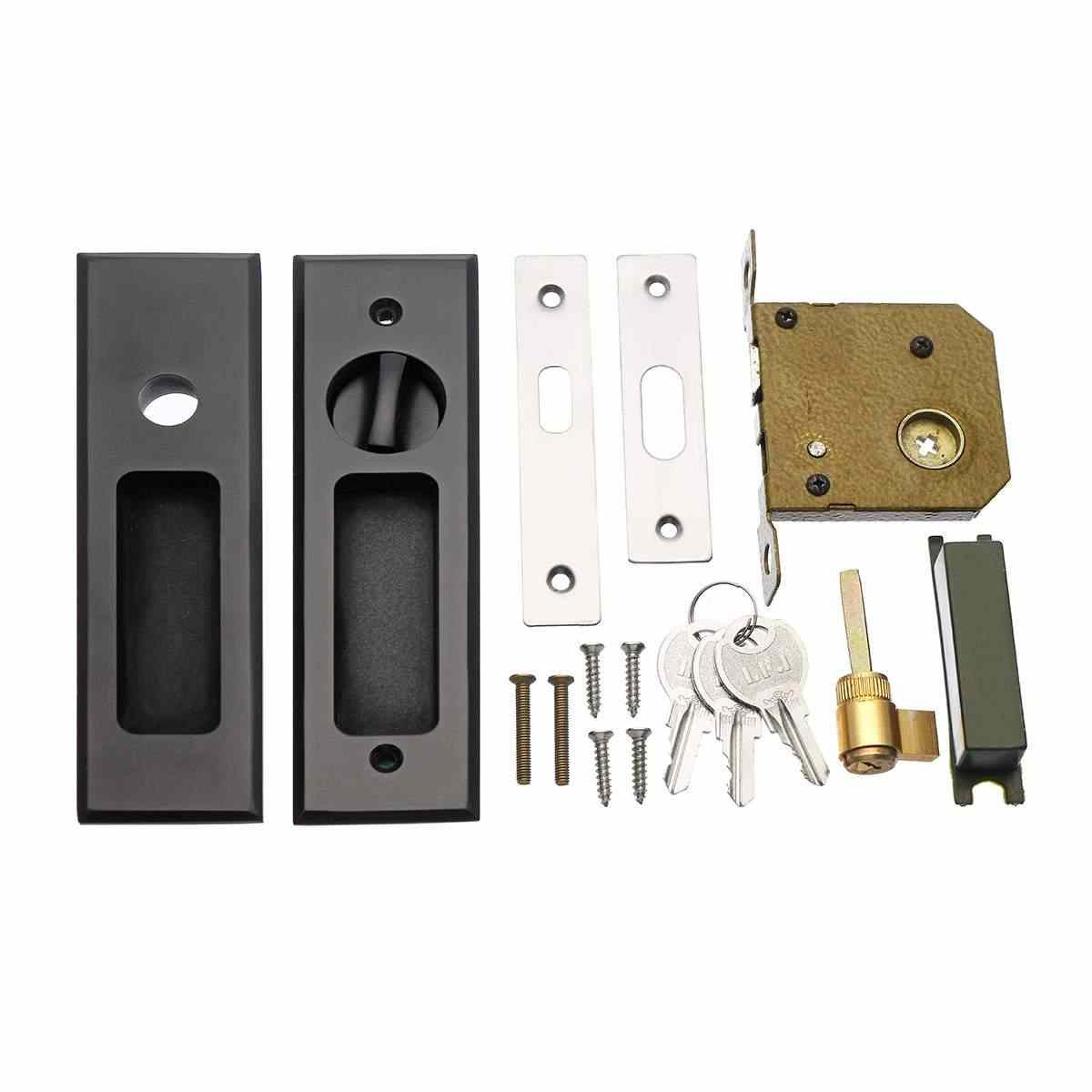 Matte Black Sliding Door Lock Flush Handle Finger Pull Set Kitchen Bathroom Cabinet Locker With Keys