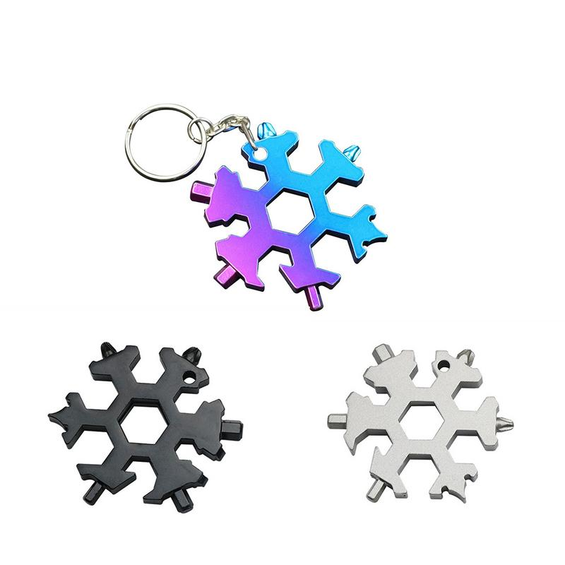 Portable 18-in-1 Mini Snowflake Multi-Tool Combination Pocket Wrench Keychain XM