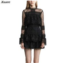 Xnxee  Autumn Women Dress 2019 Self Portrait Fashion Sexy Black Lace Patchwork Flare Sleeve Layers Cake Party Mini Dresses