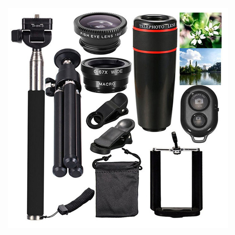 Универсальный масштабируемый 8X монокуляр мобильный зум 10 в 1 смартфон камера зум объектив клип оптический набор