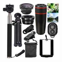Universal Zoomable 8X Monocular celular móvil Zoom 10 en 1 Smartphone Cámara Zoom lente Clip telescopio óptico Kit teleobjetivo
