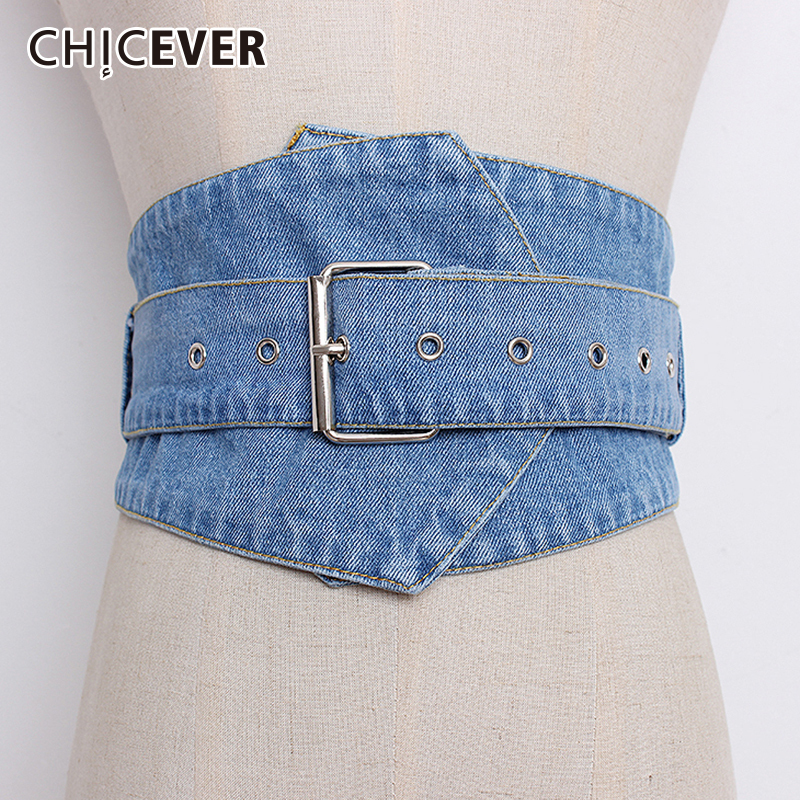 CHICEVER Denim Wide Belts Female High Waist Vintage Women's Belt For Dresses Accessories Autumn Korean Fashion Tide 2020