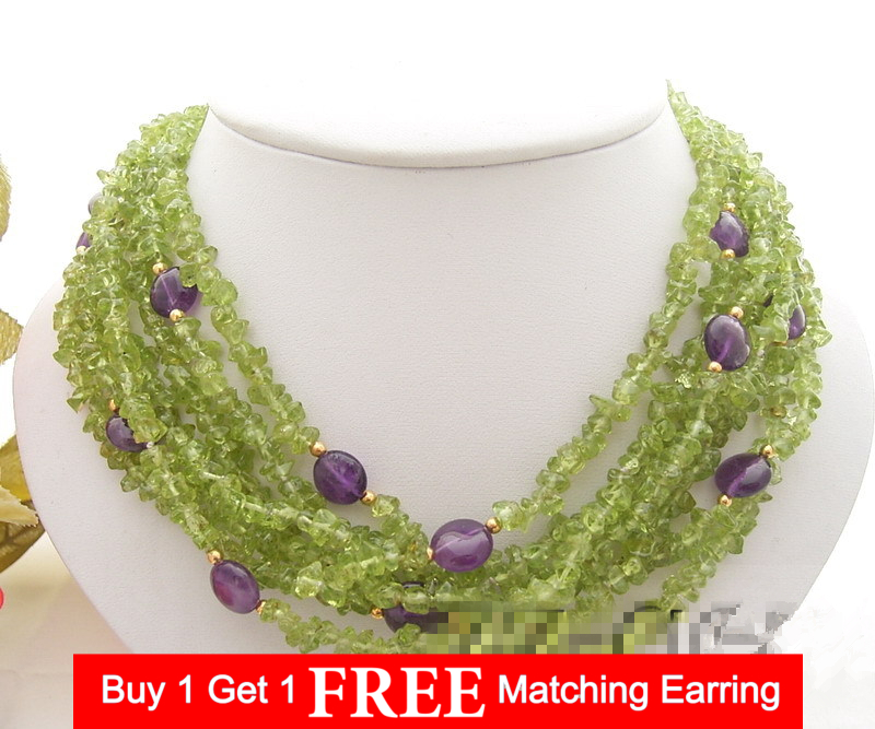 LiiJi Unique 7 rows Natural Peridots Chips shape Amethysts Oval Shape Necklace Stone Toggle Clasp 18