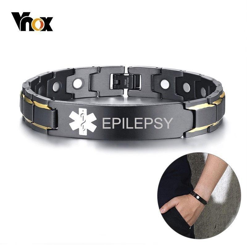 Vnox Free Personalized EPILEPSY Medical Bracelets for Men Women Black Stainless Steel Therapy Healing PulseiraVnox Free Personalized EPILEPSY Medical Bracelets for Men Women Black Stainless Steel Therapy Healing Pulseira