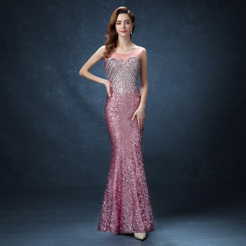 Robe de mariée Vivian 2019 fée brillante Sequin cristal robe de soirée élégante Debutante Sexy Illusion perles rayure sirène robe de soirée