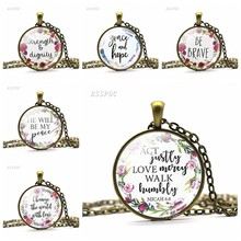 Fashion Bible Verse Christian Lettering Necklace Glass Cabochon Quote Inspirational Bronze Chain Jewelry Women Men Faith Gift(China)