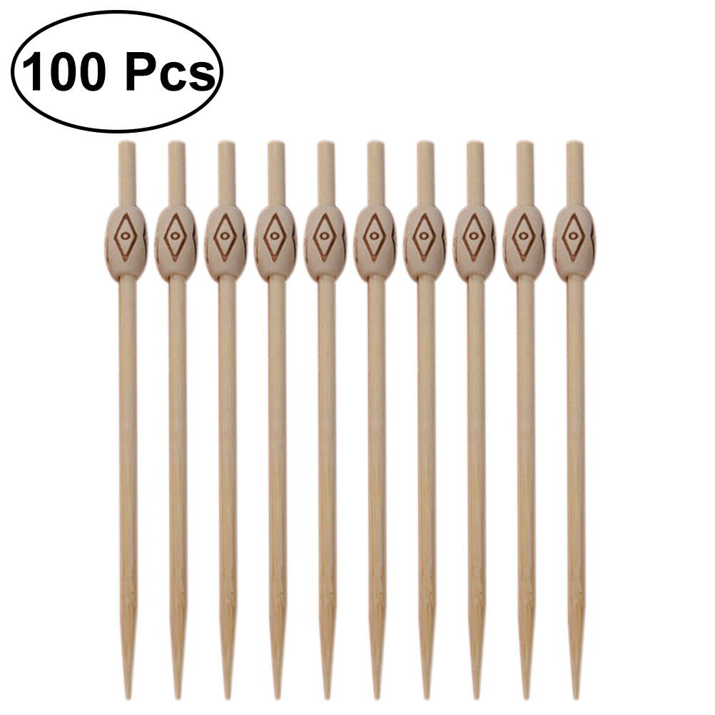 100 Stuks Wegwerp Hout Cocktail Picks Taille Drum Vormige Fruit Sticks Tandenstokers Voor Party Bar Keuken Accessoires