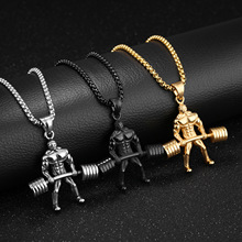 Gym Necklace Weightlifting Workout Stainless Steel Barbell Pendant For Men Statement Silver Black Gold Necklaces Pendants stainless steel barbell pendant necklace for men