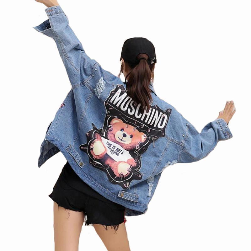 2019 New Denim Jacket Women Sequins Pearls Punk Batwing Sleeve Loose Vintage Streetwear Jeans Jackets Coat Ladies Plus Size