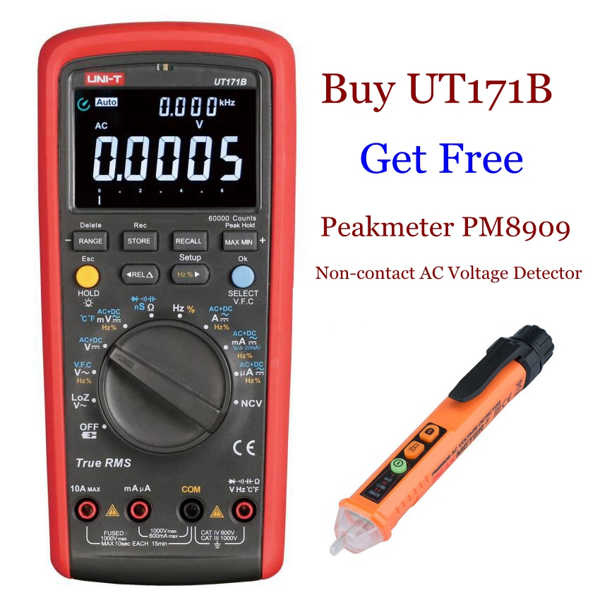 UNI T UT171B Industrial Digital Multimeter  True RMS 60KCounts  Admittance nS Temperature AC LoZ Measure EBTN LCD USB Interface-in Multimeters from Tools    1